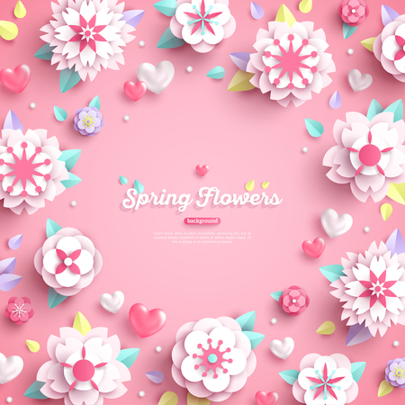 Banner with place for text and 3d white paper cut spring flowers on pink background. Vector illustration.