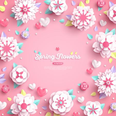 Banner con lugar para texto y papel blanco 3d corta flores de primavera sobre fondo rosa. Ilustración vectorial. Ilustración de vector