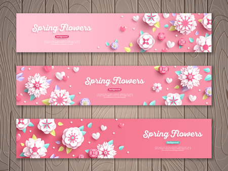 Set of pink horizontal banners on wooden background with white paper cut flowers. Vector illustration.
