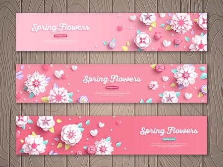 Set di banner orizzontali rosa su fondo in legno con fiori recisi di carta bianca. Illustrazione vettoriale.