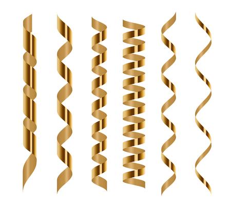 Spirala złoty zestaw serpentyn na białym tle. Ilustracja wektorowa. Złote wstążki do projektowania wakacyjnego Ilustracje wektorowe