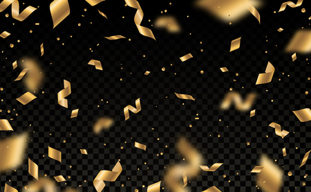 Falling shiny golden confetti and pieces of serpentine isolated on black transparent background. Bright festive overlay effect with gold tinsels. Vector illustration. Stock Illustratie