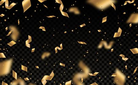 Coriandoli dorati lucidi che cadono e pezzi di serpentina isolati su sfondo nero trasparente. Luminoso effetto di sovrapposizione festivo con orpelli dorati. Illustrazione vettoriale.