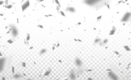 Fallende glänzende silberne Konfetti und Serpentinenstücke lokalisiert auf transparentem Hintergrund. Heller festlicher Overlay-Effekt mit grauen Lametta. Vektorillustration. Vektorgrafik