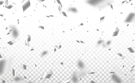 Falling shiny silver confetti and pieces of serpentine isolated on transparent background. Bright festive overlay effect with gray tinsels. Vector illustration. Ilustração