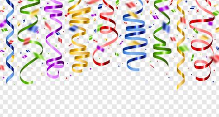 다채로운 뱀 및 투명 한 배경에 고립 된 색종이. 벡터 일러스트 레이 션. 휴일 디자인에 대 한 설정 빛나는 리본