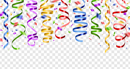 Colorful serpentine and confetti isolated on transparent background. Vector illustration. Shiny ribbons set for holiday design