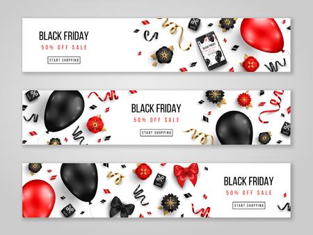 Banners horizontales de venta de viernes negro con globos 3d, confeti y flores sobre fondo blanco. Ilustración vectorial. Lugar para el texto. Ilustración de vector