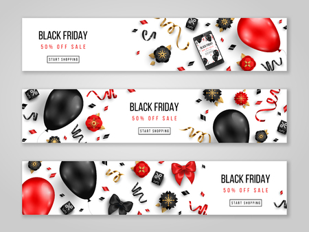 Black Friday sale horizontal banners with 3d balloons, confetti and flowers on white background. Vector illustration. Place for text.