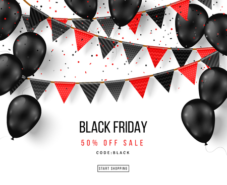 Black Friday balloons and garlands Standard-Bild - 106851237