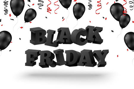 3d Black friday text with balloons and serpentine on white background. Vector illustration. Illustration