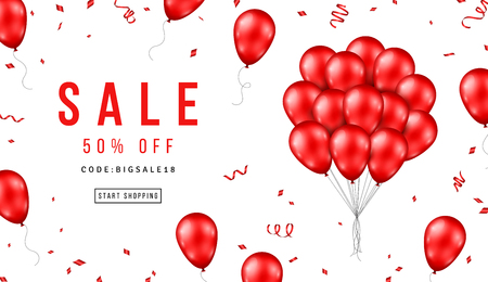 Banner de venta con manojo de globos rojos sobre fondo blanco. Ilustración vectorial. Ilustración de vector