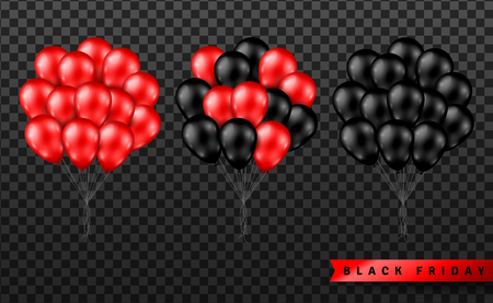 Shiny Balloons Bunch Set Isolated on Transparent Background. Vector illustration. Elements for Black Friday Sale Poster