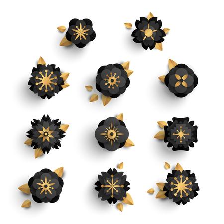 Black paper cut flowers
