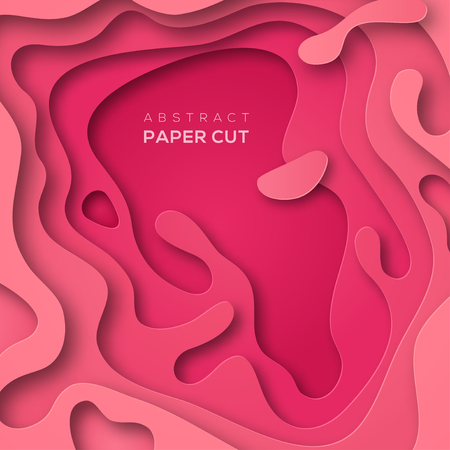 3D abstract background with pink paper cut shapes. Vector design layout for business presentations, flyers and posters. Colorful carving art