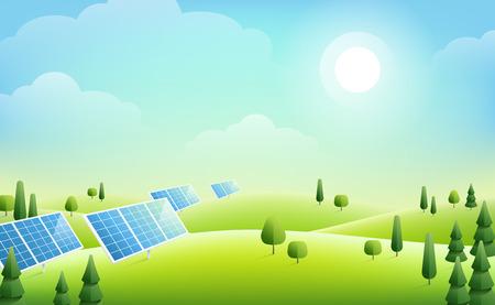 Panele słoneczne i drzewa na zielonych wzgórzach, słoneczny dzień. Ilustracja wektorowa. Ekologia i tło środowiskowe