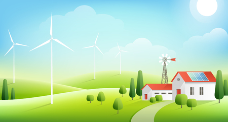Rural landscape with farm in green hills. Solar panel on red roof of house and wind turbines. Vector illustration. Ecology concept of alternative energy Ilustração