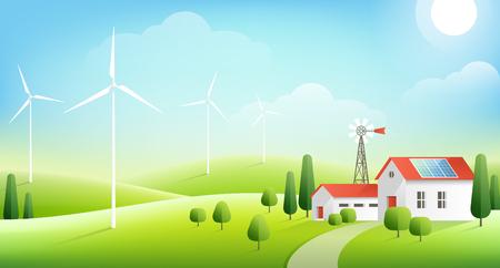 Wiejski krajobraz z gospodarstwem rolnym w zielonych wzgórzach. Panel słoneczny na czerwonym dachu domu i turbin wiatrowych. Ilustracja wektorowa. Ekologiczna koncepcja energii alternatywnej
