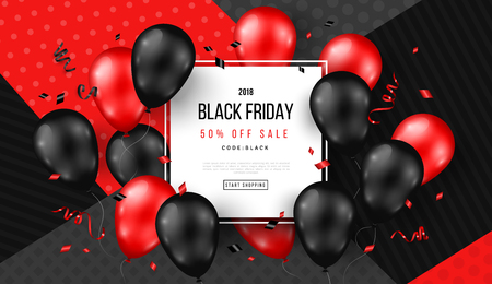 Black Friday Sale Poster with Shiny Balloons and Confetti on Modern Geometric Background with Square Frame. Vector illustration.