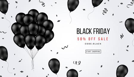 Banner di vendita del Black Friday con mazzo di palloncini lucidi e coriandoli su sfondo bianco. Illustrazione vettoriale.