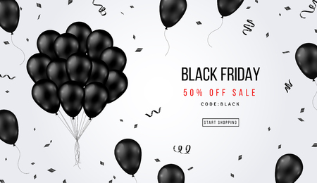 Bannière de vente vendredi noir avec bouquet de ballons brillants et confettis sur fond blanc. Illustration vectorielle.