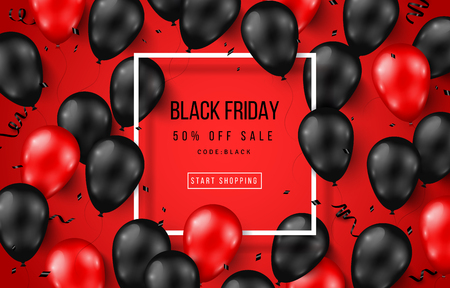 Black Friday Sale Poster with Shiny Balloons on Red Background with Square Frame. Vector illustration. Illustration