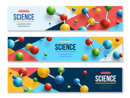 Banners with colorful molecules Illustration
