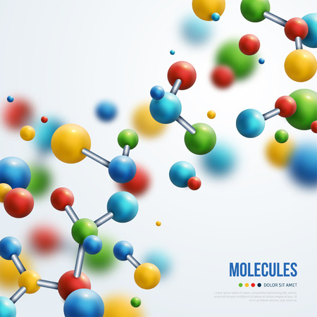Science banner with colorful 3d molecules on white background. Vector illustration. Vector Illustration