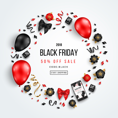 Black Friday Sale Circle Frame with Balloons, Flowers and Confetti on White Background. Vector illustration. Иллюстрация
