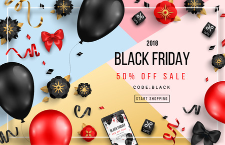 Black Friday Sale Poster with Balloons, Flowers and Confetti on Geometric Background with Frame. Vector illustration.