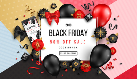 Black Friday Sale Poster with Balloons, Flowers and Confetti on Geometric Background. Vector illustration. Ilustração