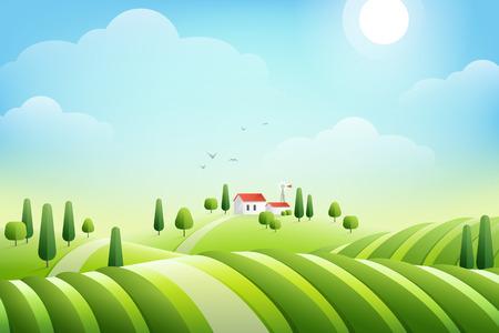Paesaggio rurale mattutino con casa e campi. Illustrazione vettoriale. Vigne biologiche in collina