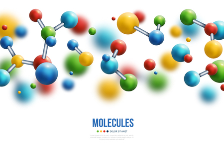 Science banner with colorful 3d molecules border on white background. Vector illustration. Ilustração