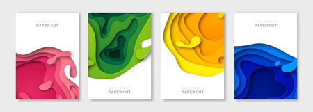 Vertical banners set with 3D abstract background and paper cut shapes. Vector design layout for business presentations, flyers, posters and invitations. Colorful carving art