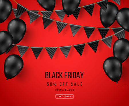 Black Friday Sale Poster with Shiny Balloons and Flag Garlands. Vector illustration. Illustration