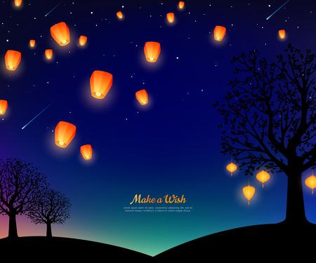 Paisaje con árboles y linternas flotando por la noche. Cielo estrellado con meteoritos. Ilustración de vector. Fondo tradicional para el año nuevo chino o el festival del medio otoño.