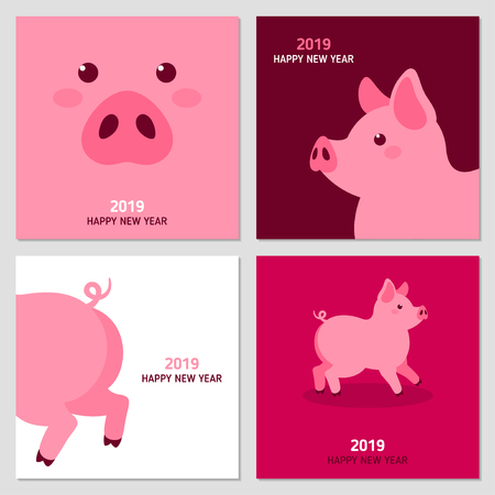New year cards with pig