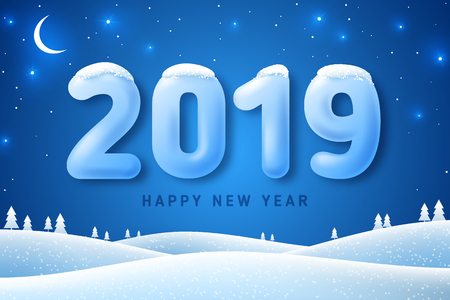 Winter landscape with fir trees in snow and 3d numbers 2019 for Happy New Year and Merry Christmas Design. Vector illustration. Night in forest with stars and crescent Illustration