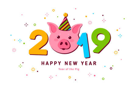 2019 New year pig Stock Vector - 108844509