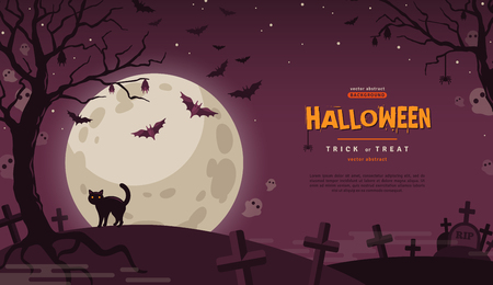 Halloween Banner with Cat at Cemetery. Vector Flat Illustration. Full Moon Night in Spooky Forest. Place for text