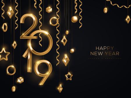 Banner de Navidad y año nuevo con adornos de oro 3d colgantes y números de 2019 sobre fondo negro. Ilustración de vector. Decoraciones geométricas de vacaciones de invierno. Lugar para el texto
