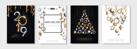 Carteles de Navidad y Año Nuevo con adornos 3d de oro y plata colgantes y números de 2019. Ilustración vectorial. Invitaciones de vacaciones de invierno con decoraciones geométricas. Ilustración de vector