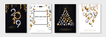 Christmas and New Year posters set with hanging gold and silver 3d baubles and 2019 numbers. Vector illustration. Winter holiday invitations with geometric decorations