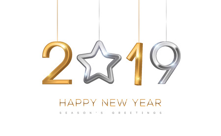 2019 silver and gold numbers with star hanging on white background. Vector illustration. Minimal invitation design for Christmas and New Year. Illustration