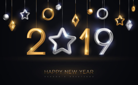 2019 silver and gold numbers with star hanging on black background. Vector illustration. Minimal invitation design for Christmas and New Year. Winter holiday decorations. Ilustracja