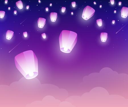 Linternas flotando por la noche en el cielo estrellado. Ilustración vectorial. Elementos de diseño tradicionales para el año nuevo chino o el festival del medio otoño.