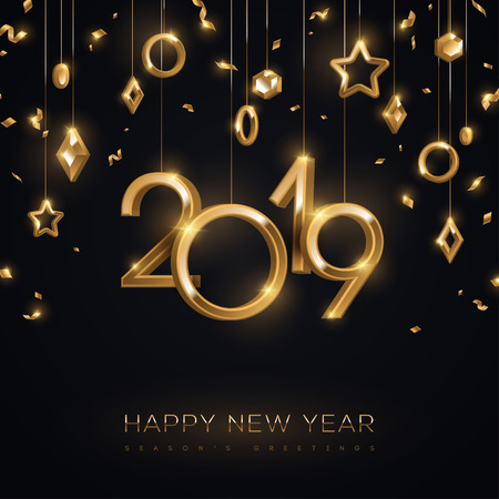 Banner di Natale e Capodanno con palline d'oro 3d d'attaccatura e numeri 2019 su sfondo nero. Illustrazione vettoriale. Decorazioni geometriche per le vacanze invernali.