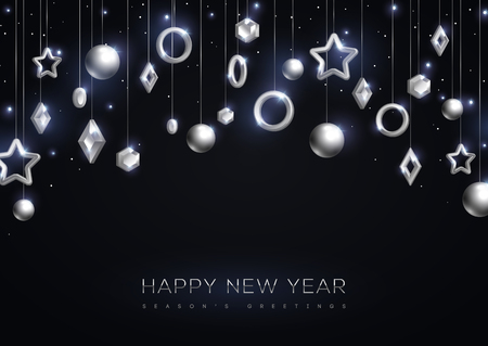 Christmas and New Year banner with hanging silver 3d baubles on black background. Vector illustration. Winter holiday decorations.