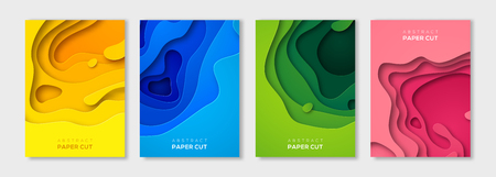 Vertical banners set with 3D abstract background and paper cut shapes. Vector design layout for business presentations, flyers, posters and invitations. Colorful carving art Vector Illustration