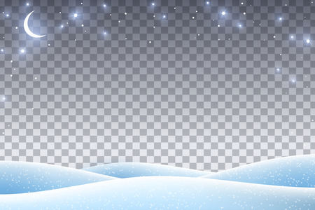 Winter landscape with empty transparent space for 2019 Happy New Year and Merry Christmas Design. Vector illustration. Night sky with stars and crescent, snow drifts. 免版税图像 - 113563157